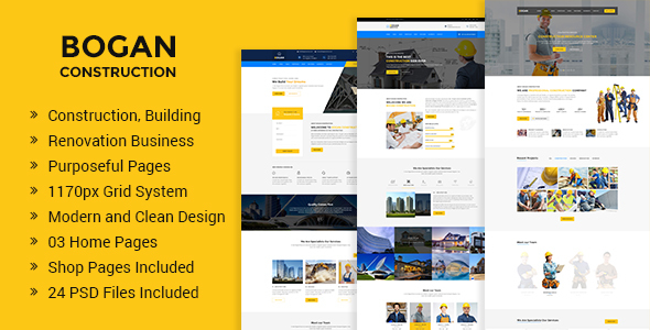 Bogan - Construction Building and Renovation Business PSD Template