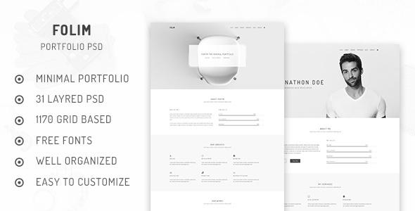 Folim - Minimal Portfolio PSD  Template
