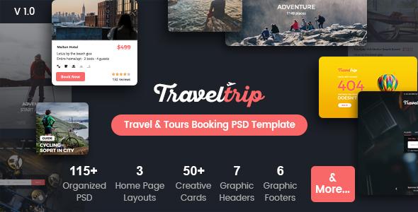 TravelTrip - Travel, Tour, Flight & Hotel Booking PSD Template