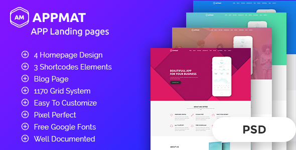APPMAT - App Landing Page PSD Template