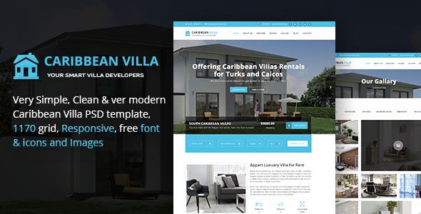 Caribbean Villa - hotel, resort, villa and business PSD Template