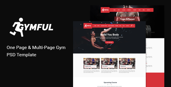 GYMFUL - One and Multi-page Gym, Yoga Fitness PSD Template with shop
