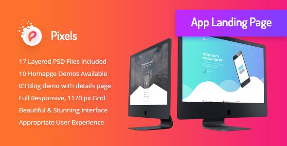 Pixels - Creative App Landing PSD Template