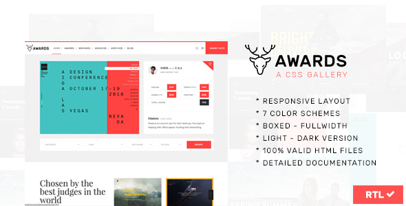 Awards | CSS Gallery Nominees Website Showcase Responsive Template