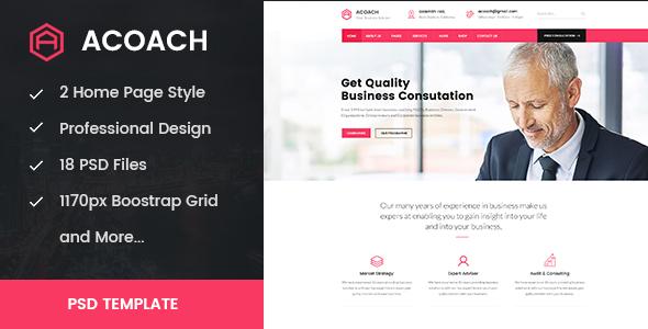 Acoach - Business Coach & Training PSD Template