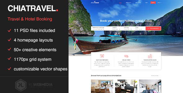 Chiatravel - Travel & Hotel Booking PSD template