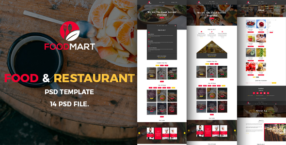 Food Mart-Food & Restaurant Online Ordering eCommerce PSD Template