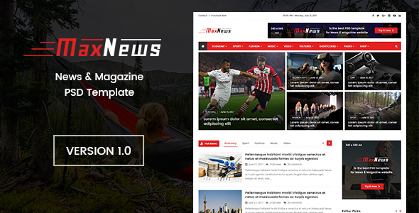 MaxNews   News & Magazine PSD Template