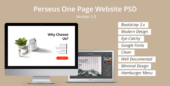 Perseus One Page Website PSD Template