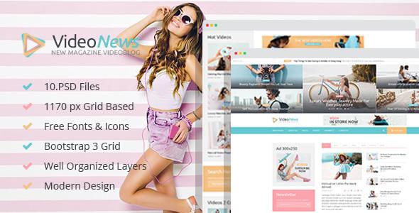 Video News - Magazine Videoblog PSD Template