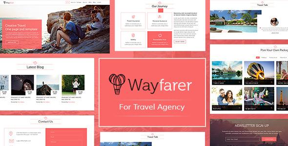 WayFarer Onepage Travel PSD Template