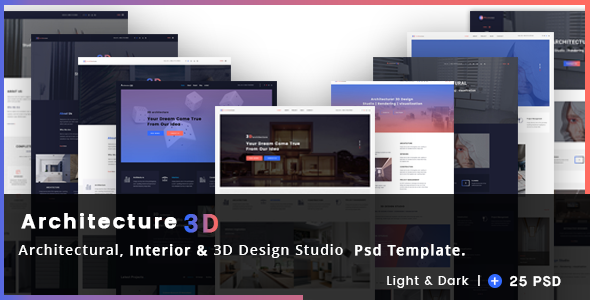 Architectural interior 3d design studio psd template for 3d interior design websites