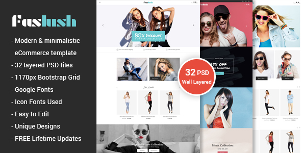 Faslush - A Modern & Minimalistic eCommerce PSD Template