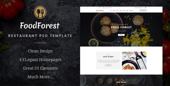 FoodForest | Restaurant PSD Template