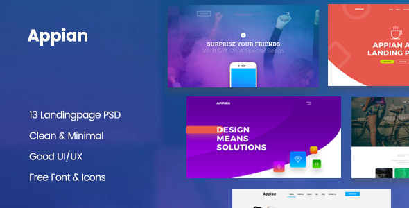 Appian Landing page PSD Template