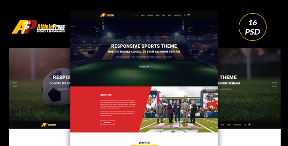 AtheletePress Sports MultiPurpose PSD template
