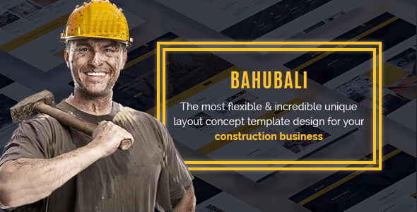 BAHUBALI Construction, Building, Business, Renovation and Architecture PSD Template