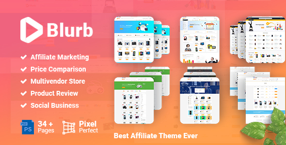 Blurb - Price Comparison, Affiliate Website, Multi vendor Store and Product Review PSD Template