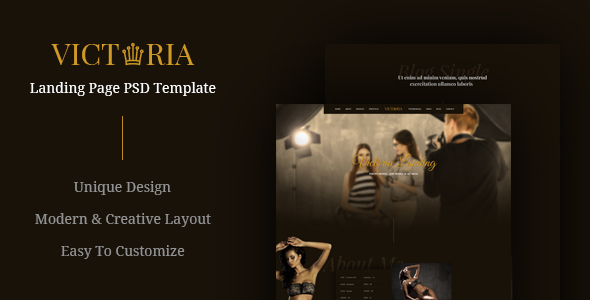 Victoria - Creative Landing Page PSD Template