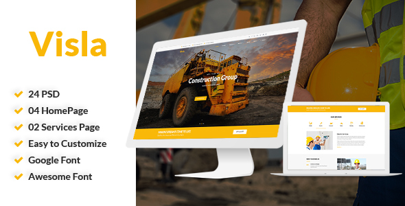 Visla | Multipurpose Construction PSD Template