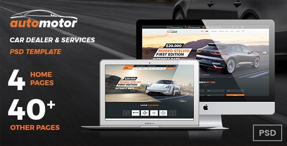 AutoMotor | Car Dealer & Services PSD Template