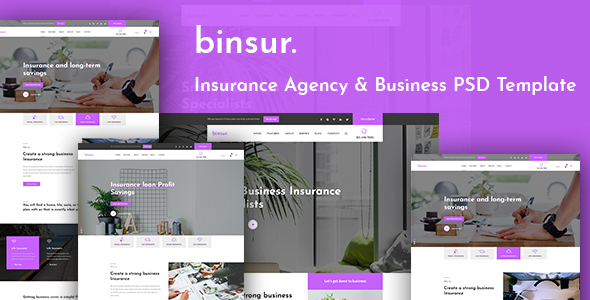 Binsure Insurance/Agency PSD Template