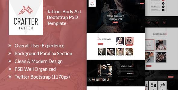 Crafter Tattoo - Body Art Bootstrap PSD Template