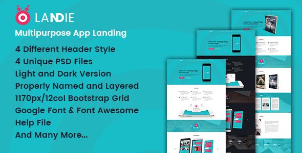 Landie Multipurpose App Landing PSD Template