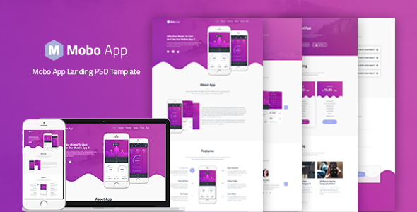 Mobo App - App Landing PSD Template