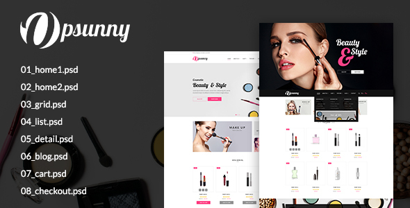Opsunny – Cosmetic Shop PSD Template