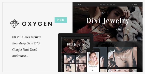 Oxygen Jewelry Ecommerce - PSD Template