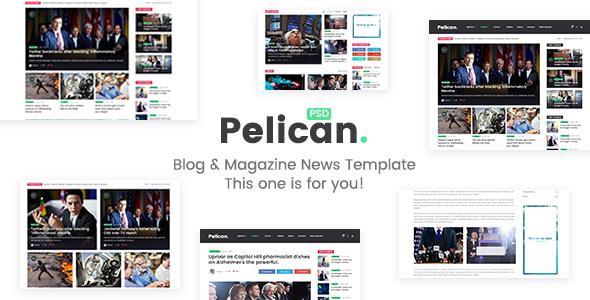 Pelican - Magazine & Personal Blog PSD Template
