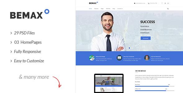 Bemax - Multipurpose Corporate Business PSD Template