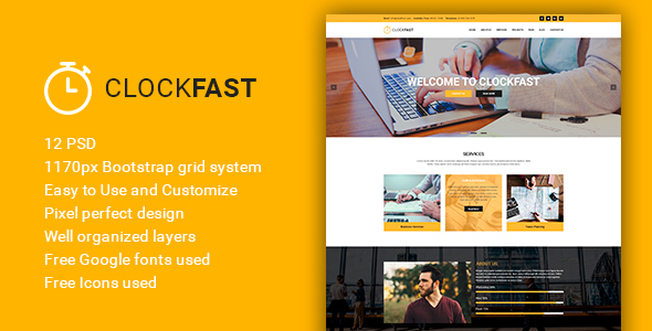 ClockFast - Multipurpose Creative Business PSD Template