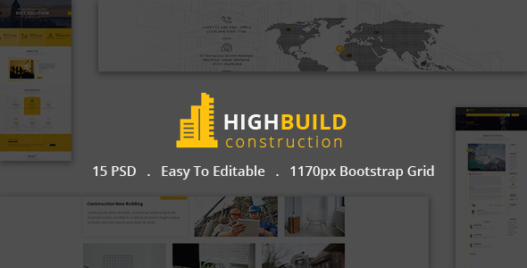 HIGHBUILD  | Construction, Building, Business, Renovation and Architecture PSD Template