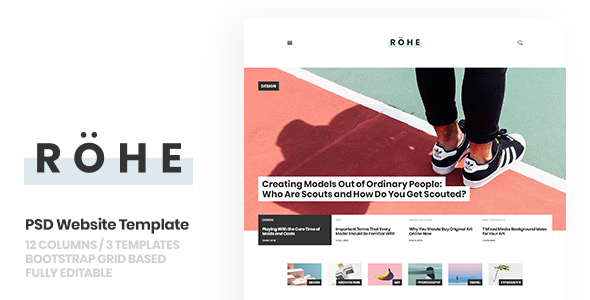 Rohe: PSD Template for Typographic Blog