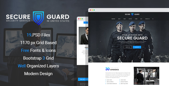 SecureGuard – Security Service PSD Template
