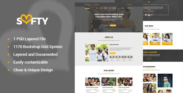 Softy Charity PSD Template