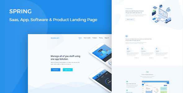 Spring - Software, App, Saas & Product Showcase Landing Page