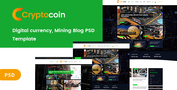 Digital currency and mining blog PSD Template