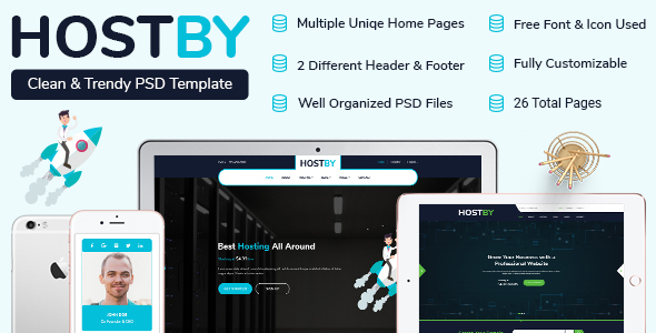 HOSTBY | MultiPage Hosting PSD Template