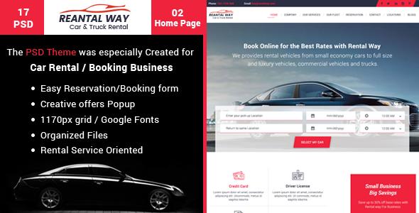 Rental Way - Car & Truck Rental, PSD Template
