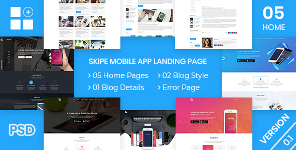 Skipe - Mobile App Landing Page PSD Template