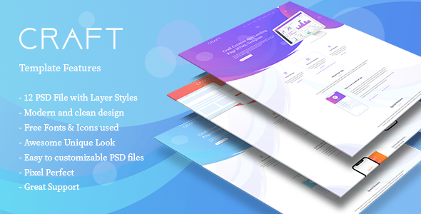 Craft App Landing PSD Template