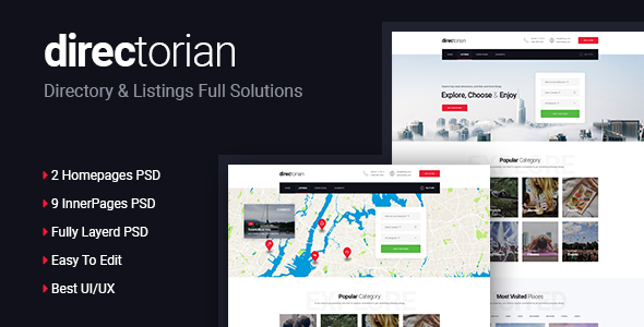 Directorian Directory & Listings PSD Template