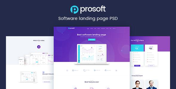 ProSoft - Software Landing Page PSD Template