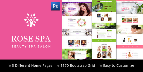 Rose SPA - Beauty SPA Salon PSD Web Template