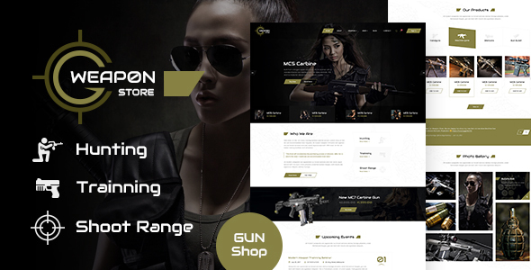 Weapon Store - Gun Shop PSD Template