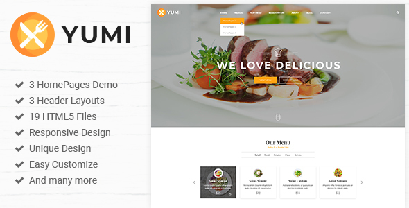 Yumi Restaurant | Restaurant PSD Template