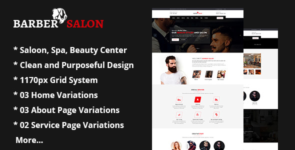 Barber Salon | Barber Shop Hair Spa and Beauty Salon PSD Template